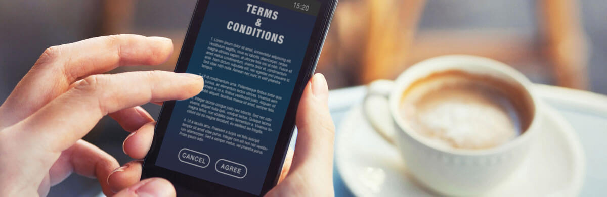 Phone user reviewing terms and conditions